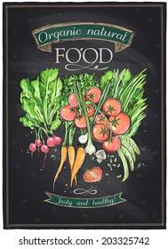Chalkboard organic natural food, vegetables background. Eps10