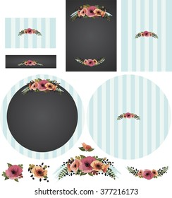 Chalkboard poppies with striped backing in cyan invitation set with pinstripe contrast pattern, includes floral swag and separate flowers. Standard formats for invitation, RSVP card, round program