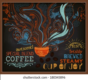 Chalkboard Poster for Coffee Shop - Colorful blackboard advertisement with steamy cup of Java and ads for specials. Hand drawn, doodle chalks, vintage style marketing