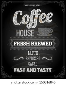Chalkboard Poster Lettering Coffee, typographic design