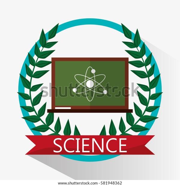 chalkboard science biology atom emblem