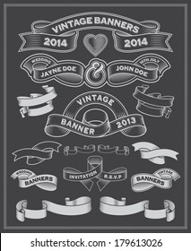 Chalkboard scrolls and banners. Hand drawn decorative ornaments.