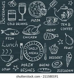 Chalkboard seamless pattern with hand drawn menu elements