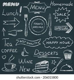 Chalkboard set of restaurant menu design elements