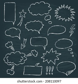 Chalkboard set of speech bubbles in comics style
