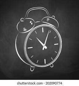 Chalkboard sketch of alarm clock. of Vector illustration.