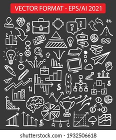 Chalkboard sketch icons set business collection eps 2021