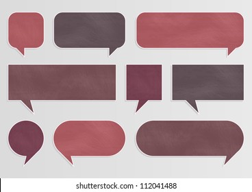Chalkboard speech bubbles and balloons illustration collection background vector