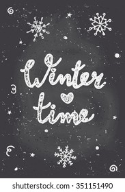 """Chalkboard style Christmas greeting card template with snowflakes and text """"Winter Time""""."""