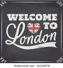 Chalkboard style London greeting card.