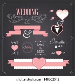 Chalkboard style wedding design and decorative elements, vintage banner, ribbon, labels, frames, badge, stickers. Vector love element.