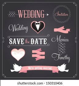 wedding banner images stock photos vectors shutterstock https www shutterstock com image vector chalkboard style wedding design decorative elements 150310406
