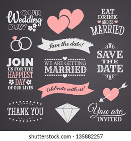 Chalkboard style wedding design elements.