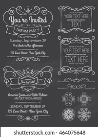 Chalkboard Swirl Invitations and Elements