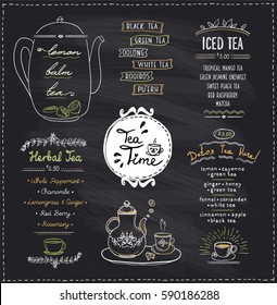 Chalkboard tea time menu list designs set for cafe or restaurant. Herbal tea, iced and detox tea, hand drawn illustration