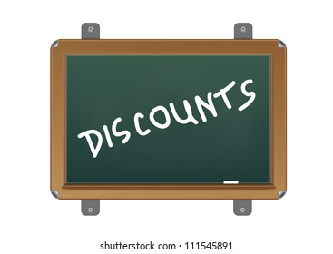 chalkboard with text discounts