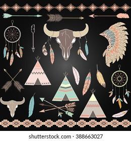 Chalkboard Tribal decorative Elements set.Feathers,Indian Dream Catcher,Arrow,Aztec Tribal,Feather Headdress,Teepee Tents,Skull.