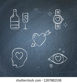 Chalkboard Valentine day icon set in line style. Love symbols sketches collection on blackboard. Wine bottle with glass, wristwatch, heart with arrow, man in love, loving eye. Vector illustration.