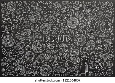 Chalkboard vector hand drawn doodle cartoon set of Donuts objects and symbols