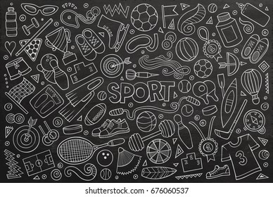 Chalkboard vector hand drawn doodle cartoon set of Sport objects and symbols