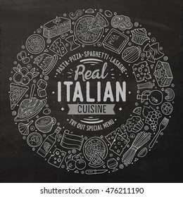 Chalkboard vector hand drawn set of Italian food cartoon doodle objects, symbols and items. Round frame composition