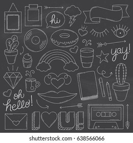Chalkboard Vintage Doodle Objects