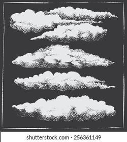 Chalkboard vintage retro cloud background set