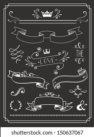 Chalkboard Wedding graphic set, arrows, hearts, laurel, wreaths, ribbons and labels.