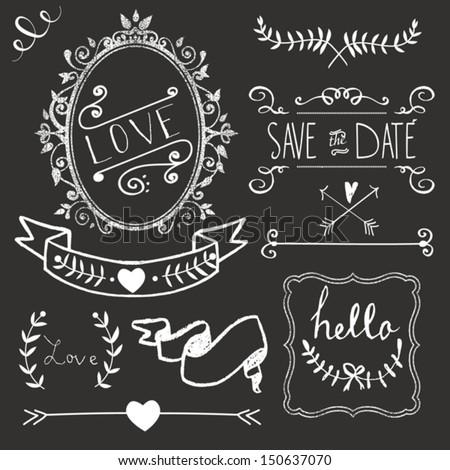 chalkboard wedding graphic set borders arrows stock vector royalty
