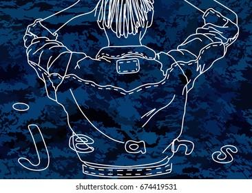 A chalk-drawn outline jeans jacket on a denim texture (blue). Applying chalk on a denim fabric (blue).