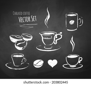 Chalked coffee set. Vector illustration.