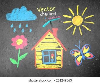 Chalked kids drawing on asphalt background. Vector illustration.