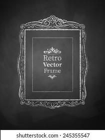 Chalked vintage baroque frame. Vector illustration. Isolated.