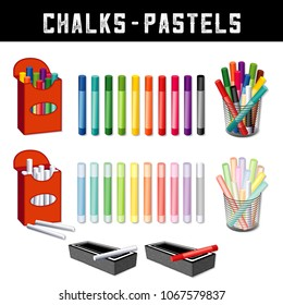 Chalks and Pastel Crayons, art supplies in twenty rainbow colors, box and desk organizers, erasers, for home, office, back to school, art and craft projects, scrapbooks.