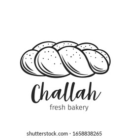 Challah bread outline hand drawn icon for bakery shop or food design. Vector illustration.