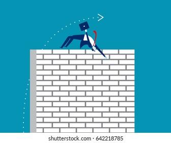 Challenge. Businessman jump a cross wall. Business vector.