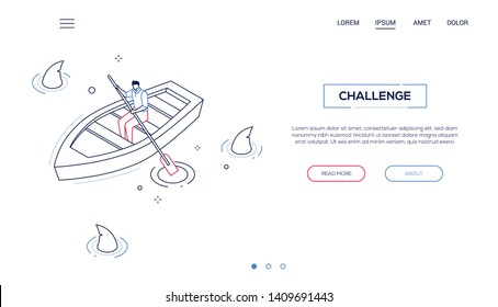 Challenge concept - line design style isometric web banner on white background with copy space for your text. High quality header with businessman, manager rowing a boat in the pool full of sharks