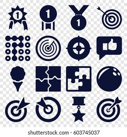 Challenge icons set. set of 16 challenge filled icons such as target, puzzle, thumb up, number 1 medal, medal with star, labyrinth, bowling ball