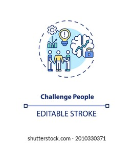 Challenge people concept icon. Inspiration from exertion and creativity idea thin line illustration. Speakers and preachers. Vector isolated outline RGB color drawing. Editable stroke