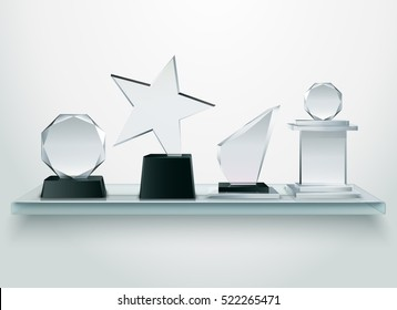 Challenge and sport competitions winners prizes glass trophies collection on shelf realistic image side view vector illustration