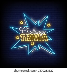 Challenge Trivia Neon Signs Style Text Vector