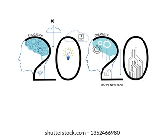 Challenges for 2020. Human head with and comunication and social network icons.
