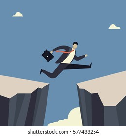 Challenges and success . Businessman Jumping over the abyss . Business concepts in vector.