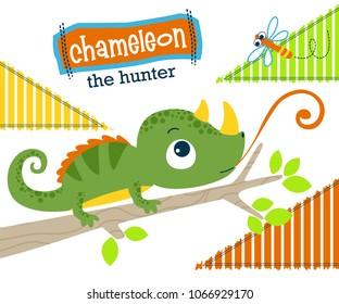 Chameleon cartoon hunting a dragonfly. Vector cartoon illustration