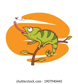 Chameleon catches fly with his tongue vector illustration. Chameleon sits on a branch and catches a fly vector illustration. Isolated element for stickers, cards, invites and posters