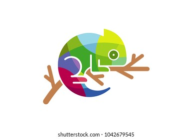 Chameleon Colorful triangles Logo Symbol Design Illustration