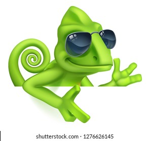 A chameleon cool green lizard cartoon character in sunglasses peeking over a sign and pointing illustration