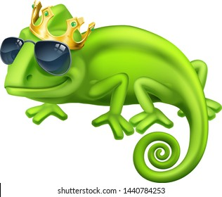 A chameleon cool king green lizard cartoon character in sunglasses and a gold crown illustration