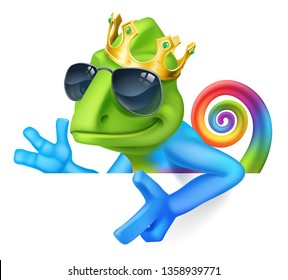 A chameleon cool king multicolored rainbow lizard cartoon character in sunglasses and a gold crown illustration