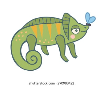 chameleon. funny character in a children's style